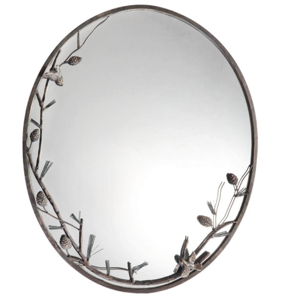 50801 Pinecone and Branch Wall Mirro CAST IRON MIRROR