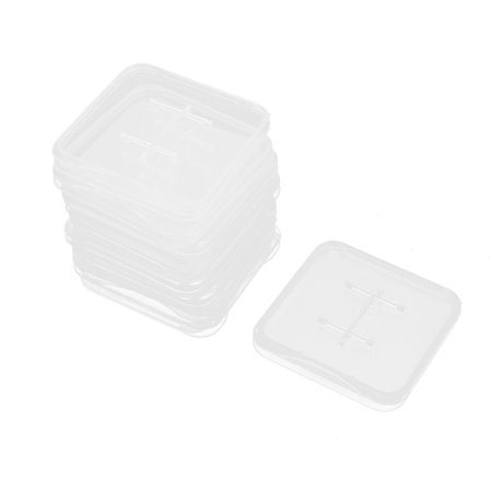 Unique Bargains 10pcs Cellphone Camera Memory TF SD SIM Card Clear White Plastic Storage Box (Mobile Plastic Containers)