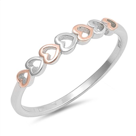 CHOOSE YOUR COLOR Rose Gold-Tone Heart Promise Ring New 925 Sterling Silver Cutout Band (Rose Gold-Tone/Ring Size 5) ()