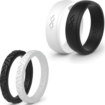 Rubber Set Ring (Silicone Wedding Rings / Wedding Bands/ Rubber- 4 Rings Set -Women Rinfit )
