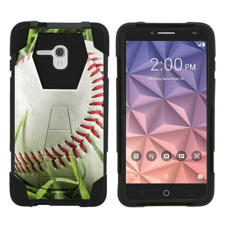 Alcatel One Touch Fierce XL 5054N Shock Fusion Heavy Duty Dual Layer Kickstand Case -  Baseball on Grass