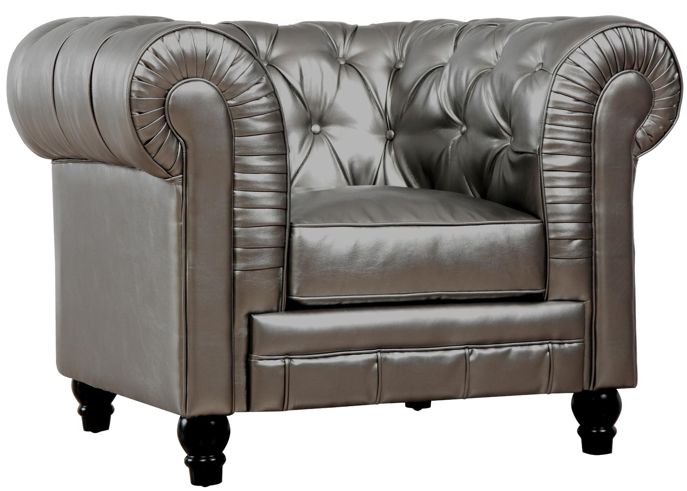 Zahara Silver Leather Club Chair by TOV Furniture