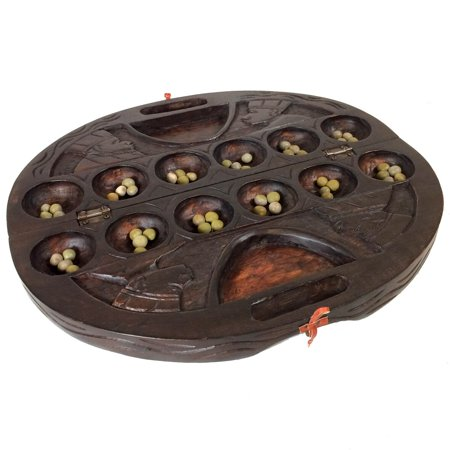 Heartwood Wood Duck (African Oware (mancala) Seed Board Game - Deluxe circular shape with handle - Hancarved with detailed designs, solid wood - 48 seeds and instructions included - by Africa Heartwood Project )