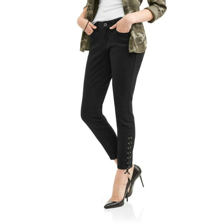 Zanadi Womens Skinny Leg Jeans With Lace Up Ankle Detail
