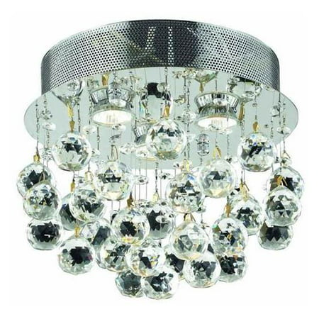 3-Light Flush Mount Clear Royal Cut Crystal in Chrome (Royal Cut)