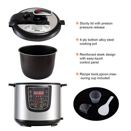 KUPPET 6-in-1 Electric Pressure Cooker 6 Qt 1000W Programmable Multi Cooker, Rice Cooker, Steamer, Saute, Warmer, Suit For 4-6 People, Stainless Steel