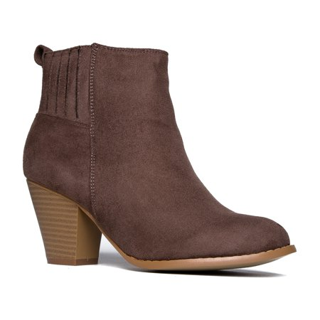 J. Adams High Heel Suede Ankle Boot - Slip On Stacked Heel Bootie - Comfortable Walkin
