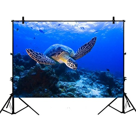 PHFZK 7x5ft Underwater Backdrops, Sea Turtle and Coral Reef Photography Backdrops Polyester Photo Background Studio Props - Coral Reef Backdrop