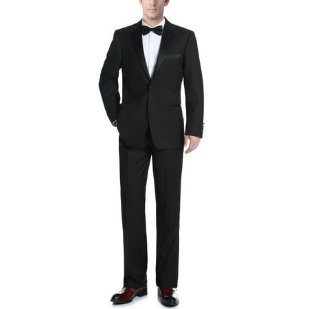 Mens Black Classic Fit Two Piece Notch Collar Tuxedo With Ribbon Finish