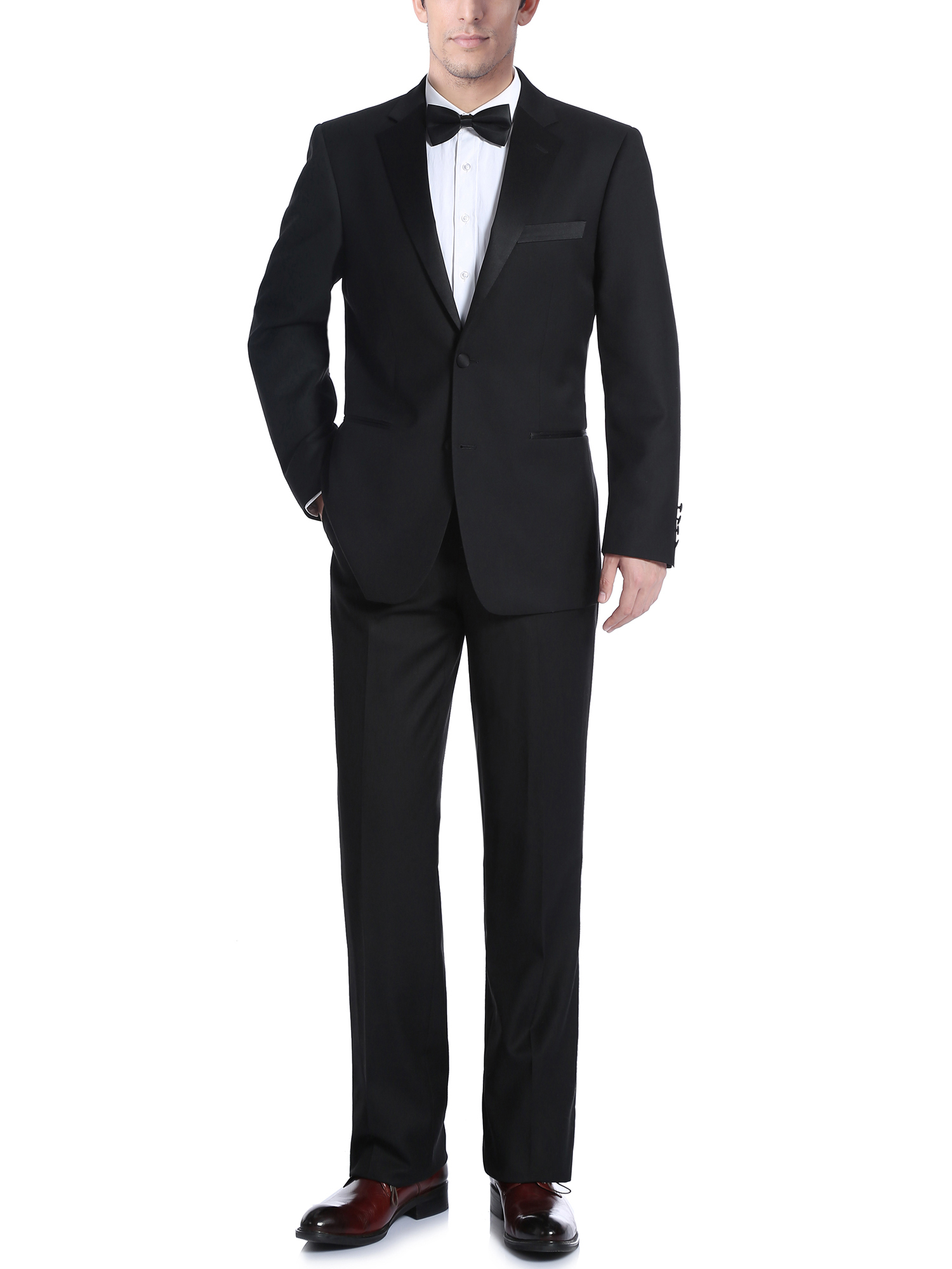 Men's Black Classic Fit Two Piece Notch Collar Tuxedo With Ribbon Finish