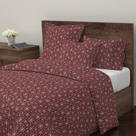 Christmas Plaid Snowflake Snowflakes Buffalo Sateen Duvet Cover by Roostery ()