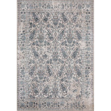 United Weavers Soignee Area Rugs - 1805-40569 Transitional Turquoise Dots Paisley Washed Distressed (Turquoise Paisley)