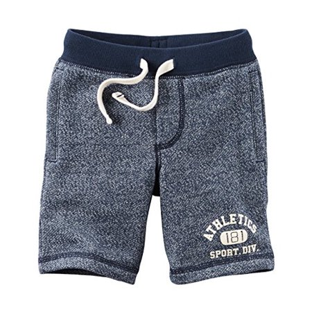 Little Boys' Marled French Terry Active Shorts - Navy -7 Kids