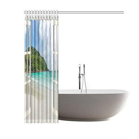 GCKG Window Sea Views Shower Curtain 60x72 Inches Polyester Fabric Bathroom Sets Home Decor - image 3 de 3