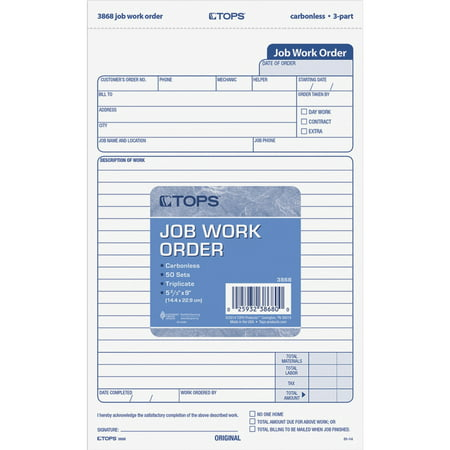 TOPS, TOP3868, Carbonless 3-Part Job Work Order Forms, 50 / Pack