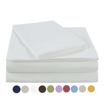 NC Home Fashions Beauty In Basic Solid Color Sheet set, Twin, Bright White ()