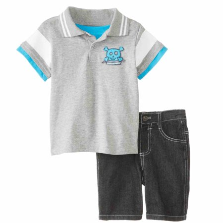 Pirate Outfit Diy (Little Rebels Infant Boys 2 Piece Pirate Ship Polo T-Shirt & Denim)