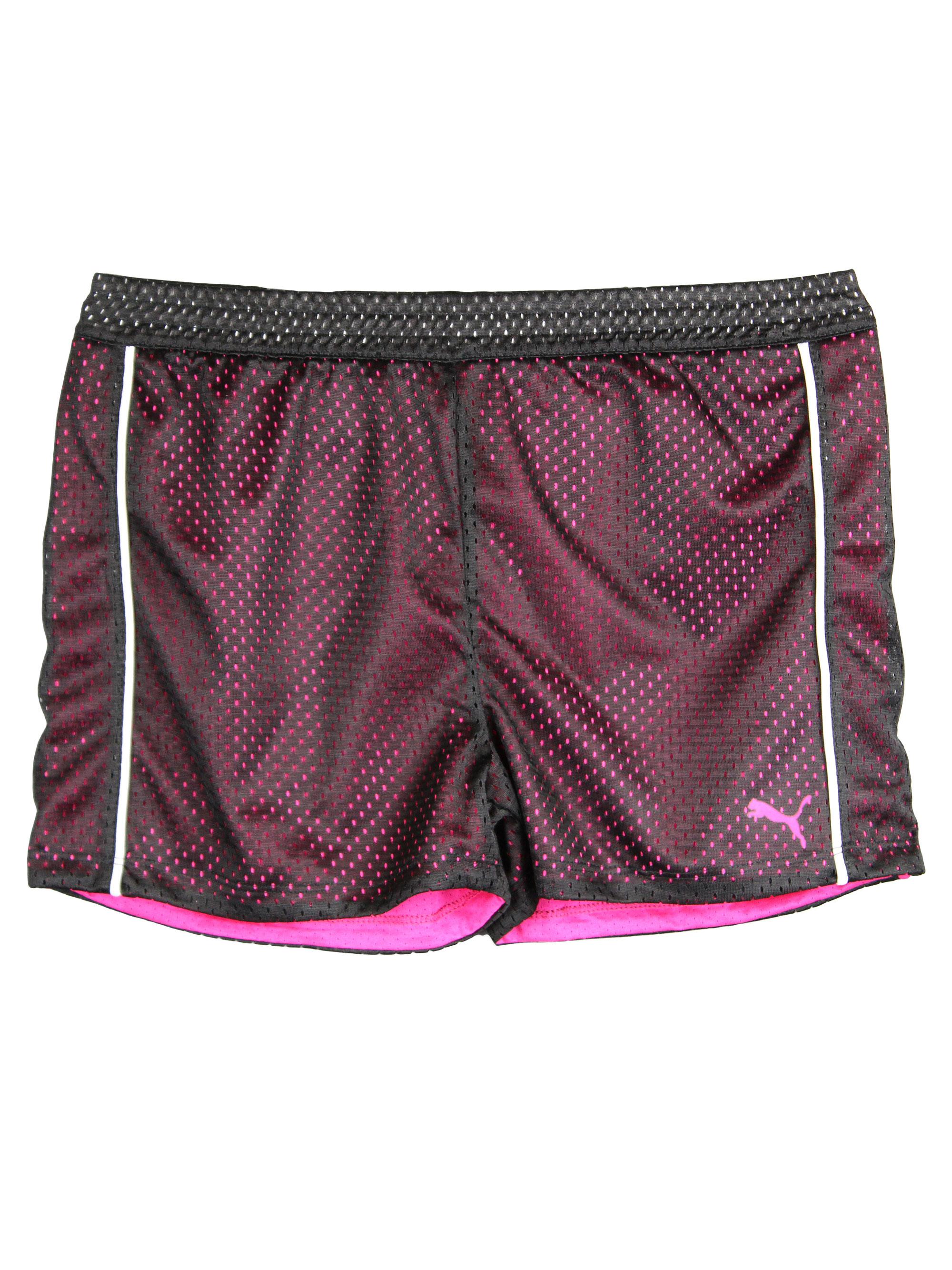 PUMA Big-Girls Mesh Athletic Exercise Gym Shorts Hot Pink Black White Large