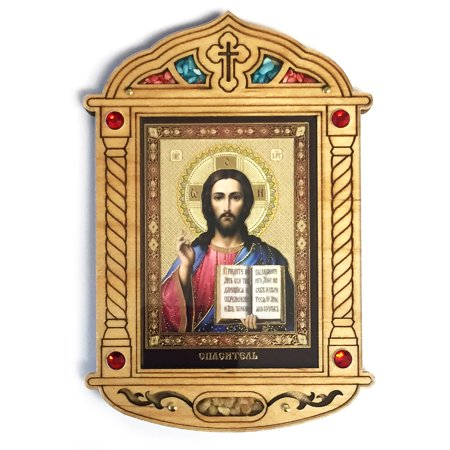 Religious Icon Christ The Teacher Icon In Wooden Shrine With Glass Crystals And Incense From Jerusalem 5-1/2 Inch Wood Icon By World Faith (Glass Incense Pipe)