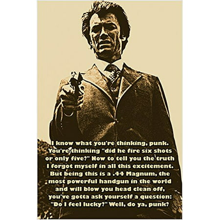 Dirty Harry Aka Clint Eastwood Photo Quote Poster Do You Feel Lucky? - Dirty Halloween Photos