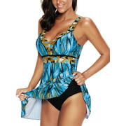 Womens Plus Size Blue Vintage Bathing Suit Fashion Retro Print Swimdress One Piece Swimsuit Swimming Costume