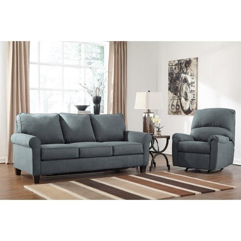 Ashley Zeth 2 Piece Fabric Queen Size Sleeper Sofa Set in Denim