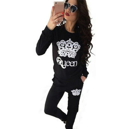 Womens 2Pcs Tracksuit Sweatshirt Tops Pants Bottom Sports Sweat Casual Suits Set (Bell Bottom Suit)