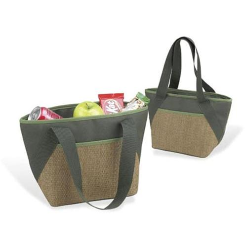 Picnic at Ascot 357-FO Eco Small Insulated Tote in Natural/ Forest Green