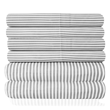 1500 Thread Count Egyptian Quality Microfiber Deep Pocket Bedroom Classic Stripe Sheet Set ()