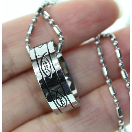 R H  Jewelry Stainless Steel Pendant, Jesus Fish Christian Symbol Band Ring  size 8