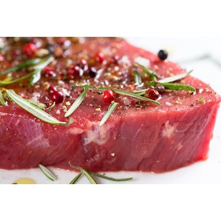 Canvas Print Meat Beef Raw Meal Steak Marinated Fresh Stretched Canvas 10 x 14