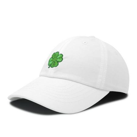 DALIX Four Leaf Clover Hat Baseball Cap St. Patrick's Day Cotton Caps White