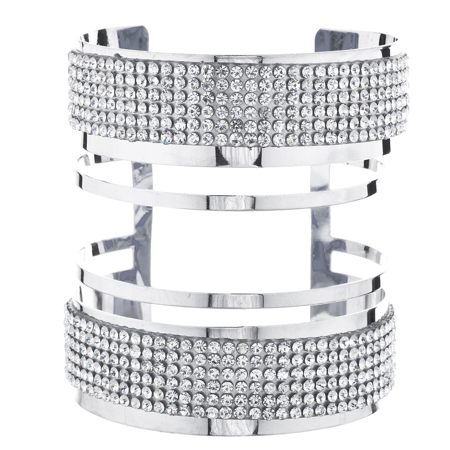 Lux Accessories Silver Tone Sticker Stone Rhinestone Geo Open End Cuff - Accessories : Bracelets And Cuffs