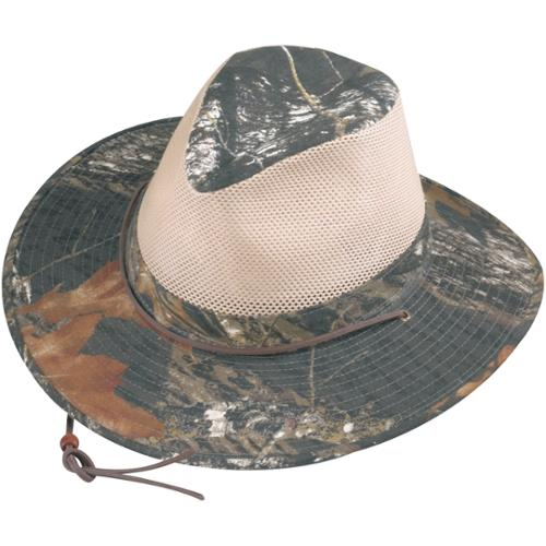 Henschel Size Medium Mens Polycotton Camo with Mesh Sides Aussie Breezer Safari Hat, Mossy Oak with Khaki Mesh thumbnail