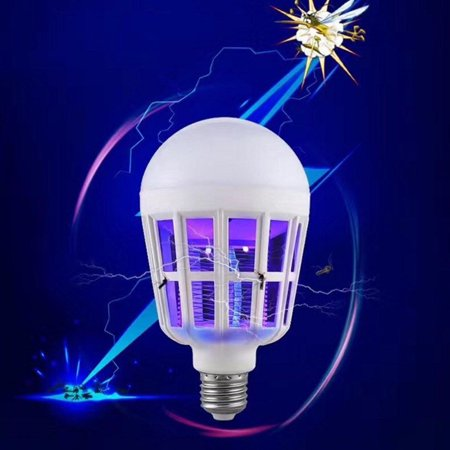 2 in 1 Bug Zapper LED Bulb, E27 15W Mosquito Killer Lamp, Pest Control Light Bulbs for Lures, Zaps & Kills Insects ()