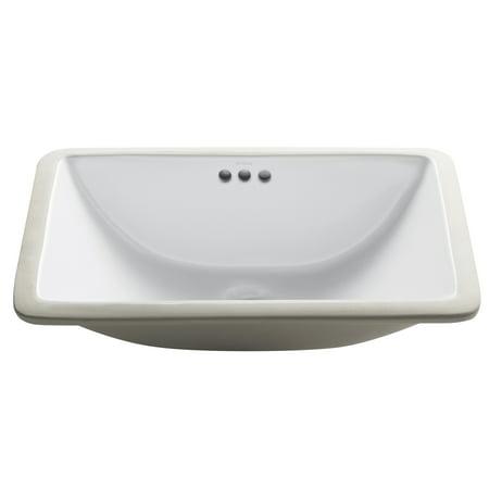 KRAUS Elavo™ 21-inch Rectangular Undermount White Porcelain Ceramic Bathroom Sink with Overflow
