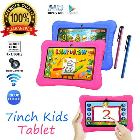 7 inch 16GB Android Quad Core 4 * 1.5Ghz 1GB RAM Dual Camera WIFI Tablet PC For Kids Best Gift With Protective Silicone (Best Tablet Pc For Artists)
