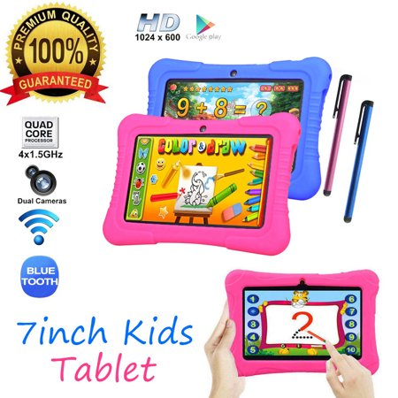 7 inch 16GB Android Quad Core 4 * 1.5Ghz 1GB RAM Dual Camera WIFI Tablet PC For Kids Best Gift With Protective Silicone