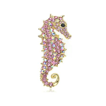 Alilang Rose Pink Aurora Borealis Crystal Rhinestone Seahorse Fashion Brooch ...