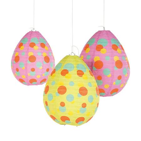 Fun Express - Easter Egg Shaped Hanging Lanterns for Easter - Party Decor - Hanging Decor - Lanterns - Easter - 4 Pieces