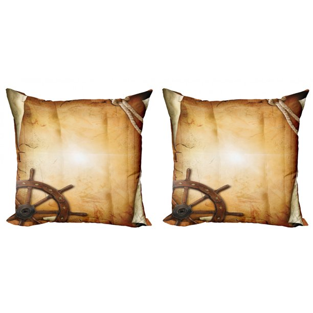Ships Wheel Throw Pillow Cushion Cover Pack Of 2 Illustration Of Steering Wheel On Old Antique Paper Historic Traveling Maritime Art Zippered Double Side Digital Print 4 Sizes Brown By Ambesonne Walmart Com