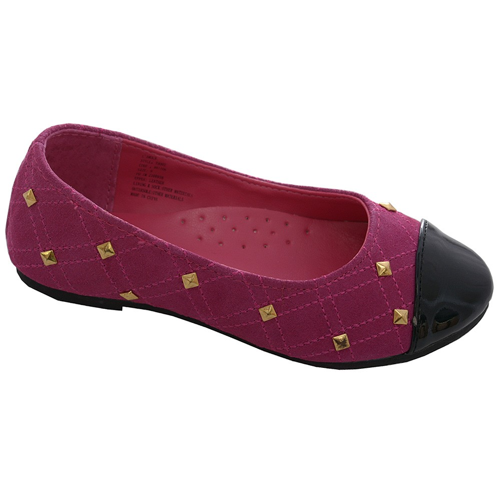 L'Amour Fuchsia Suede Patent Girl Gold Stud Ballet Shoe Little Girl Patent 11-4 e50fd7