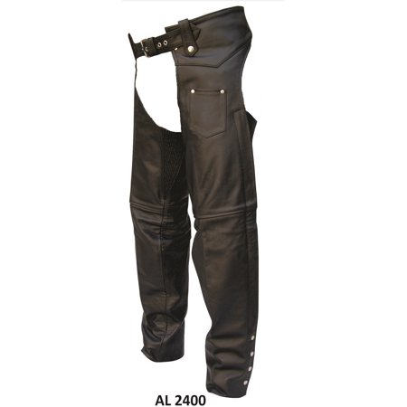 Men's Medium Size V Shaped Plain Lined Premium Buffalo Leather Chaps With Silver (Interstate Leather Chaps)