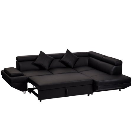 Contemporary Sectional Modern Sofa Bed Black With Functional Armrest Back R