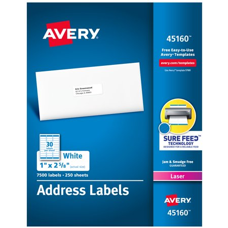 """Avery® Address Labels, Sure Feed™ Technology, Permanent Adhesive, 1"""" x 2-5/8"""", 7,500 Labels (45160)"""