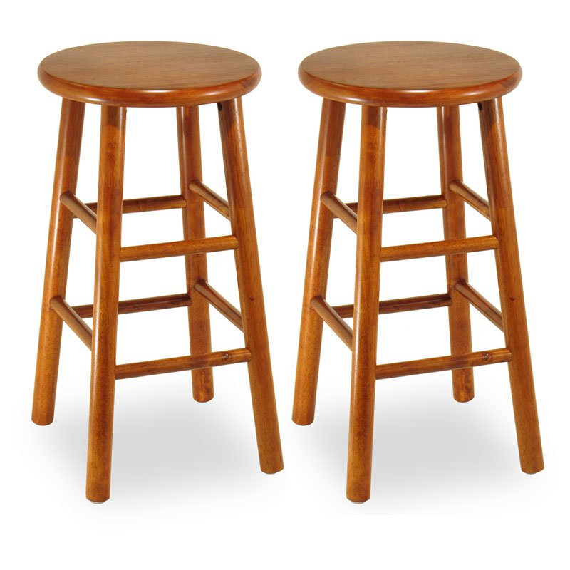 Winsome 24-Inch Commander Beveled Seat Counter Stool - Set of 2