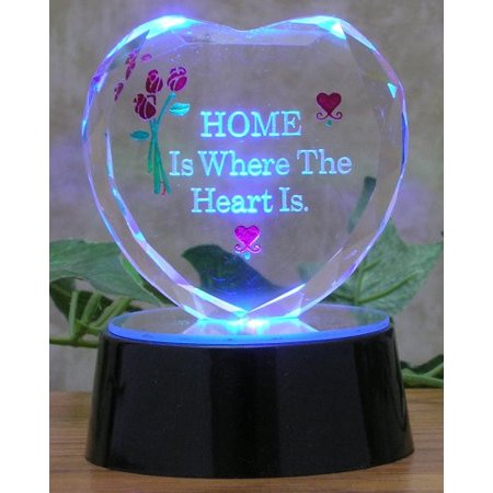 Housewarming Gift - Glass Heart on Led Lighted Base