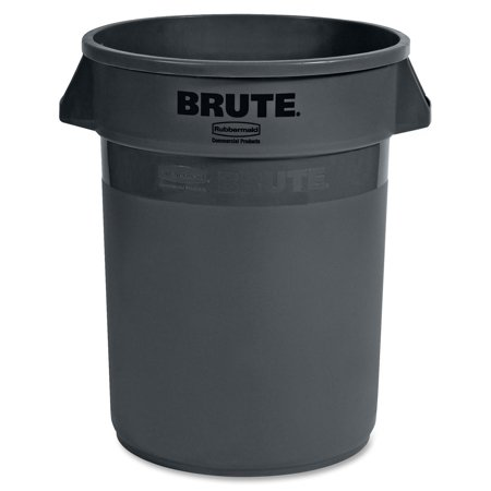 Rubbermaid Commercial FG263200GRAY Brute Heavy-Duty Round Container 32-gallon, (Waste Container Gray Lid)