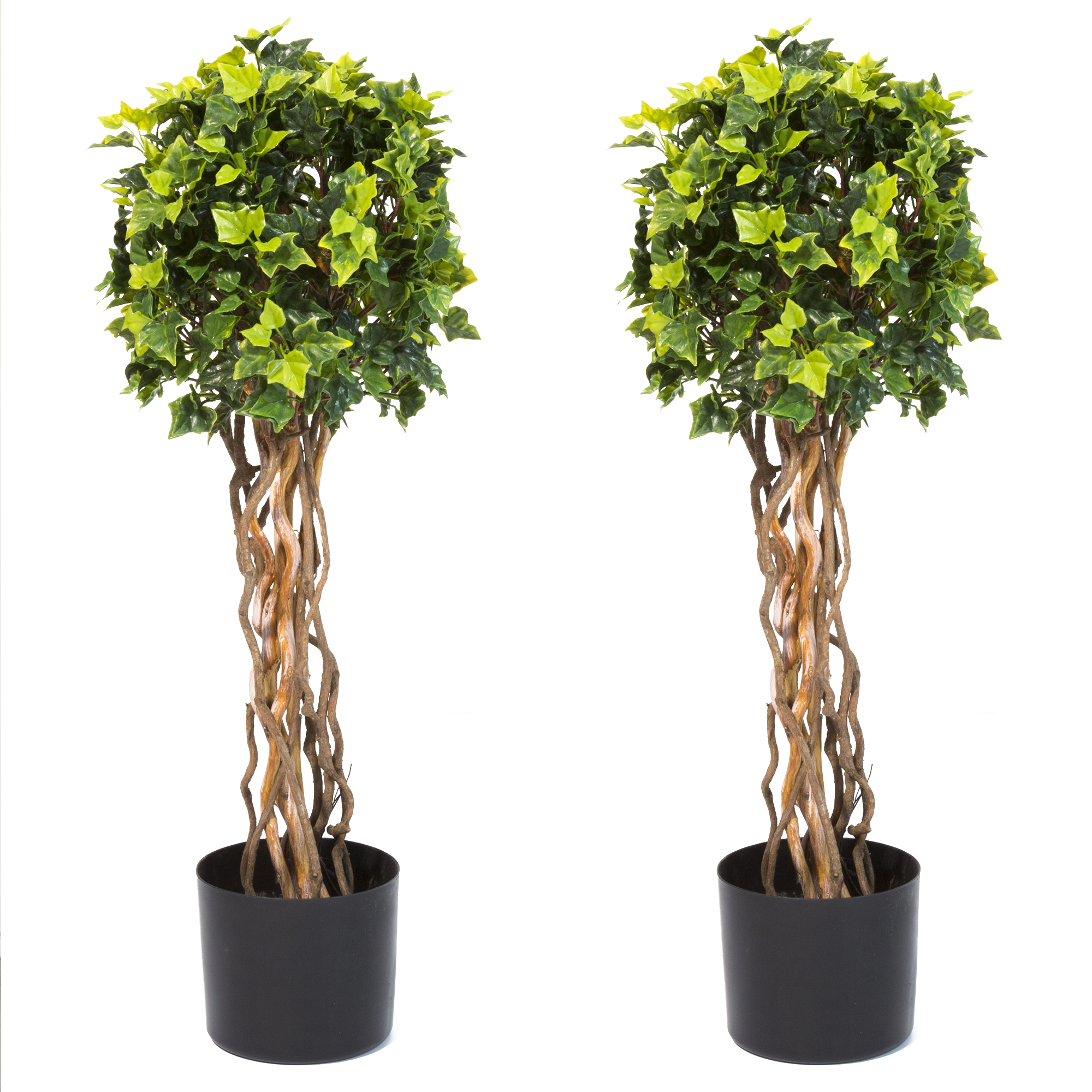 "30"" English Ivy Single Ball Topiary Artificial Tree - Set of 2, Faux Plants by Pure Garden"