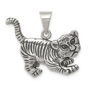 Diamond2Deal 925 Sterling Silver Antiqued Tiger Pendant Fine Jewelry Ideal Gifts For Women Gift Set From Heart